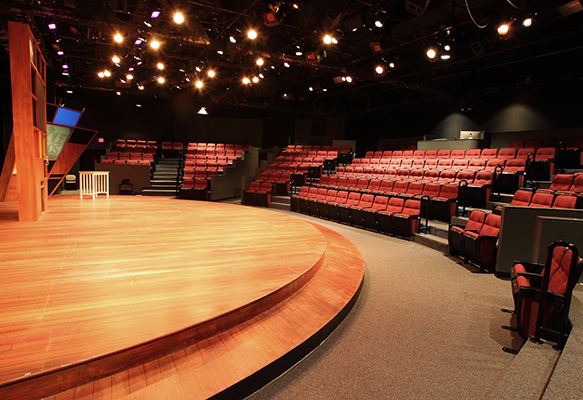 View fo the stage and seats at the Loft Theatre