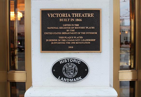 Dedication plaque outside of Victoria Theatre