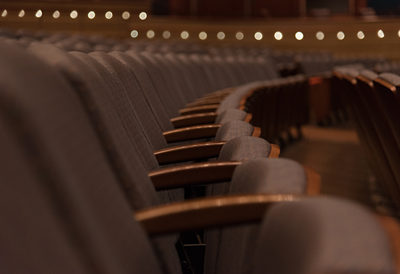 Detail image of the seats in the Meade Theatre at the Schuster Center