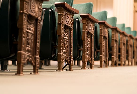 Detail image of seats in Victoria Theatre