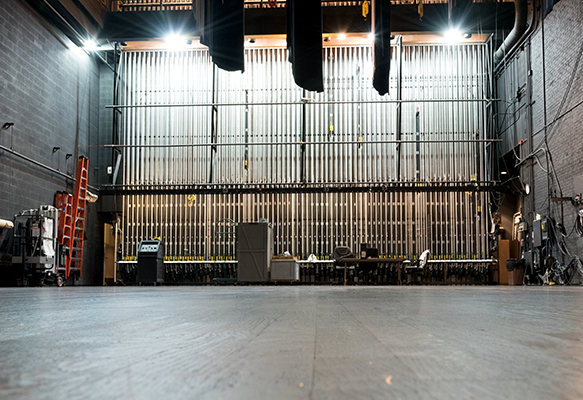 View of back-stage riggings at Victoria Theatre