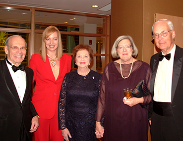 Dr. Benjamin Schuster, actress Allison Janey, Marian Schuster, and Macy & Jervis Janney attend the Schuster Center Grand Opening Gala.
