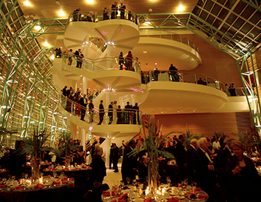 Attendees of the Schuster Center Grand Opening Gala in the wintergarden.