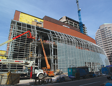 Exterior construction at the Schuster Center