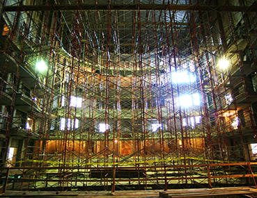 Scaffolding on the stage during the construction of the Schuster Center