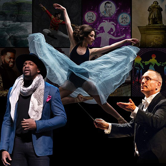 A collage featuring a dancer, and opera singer, and an orchestra conductor