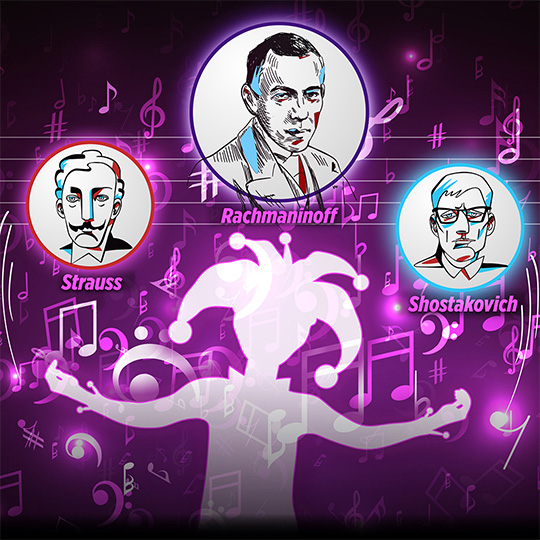 A jester juggles balls with images of Strauss, Rachmaninoff and Shostakovich