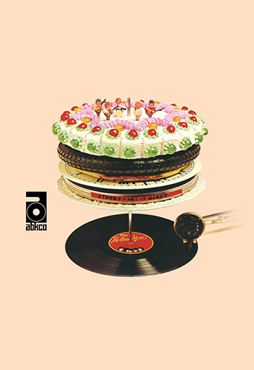 Rolling Stones Let It Bleed album cover with a cake on a record player